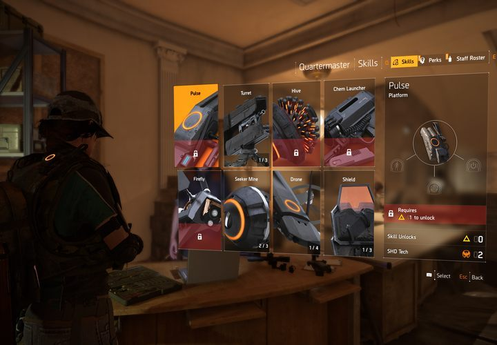 The screen shows the placement screen. - How to unlock abilities in The Division 2? - FAQ - The Division 2 Guide