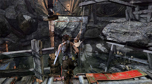 Wait until a metal beam falls in front of you (screenshot), then leap twice quickly - first to grab onto the beam, then to reach the interactive wall - Exit the Forest Through the Wolf Cave | 19: Some Time Alone Walkthrough - 19: Some Time Alone | Walkthrough - Tomb Raider Game Guide