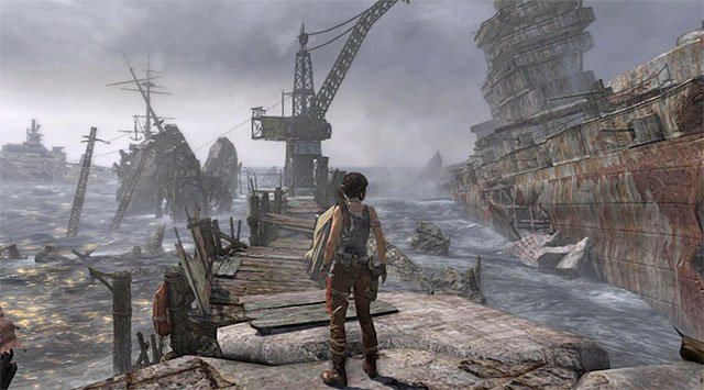 Start by the boat the survivors are working on - Reach the Galleon | 21: A Pirates Life Walkthrough - 21: A Pirates Life | Walkthrough - Tomb Raider Game Guide