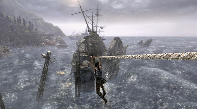 When you get to the larger platform, find a ladder and go up - Reach the Galleon | 21: A Pirates Life Walkthrough - 21: A Pirates Life | Walkthrough - Tomb Raider Game Guide
