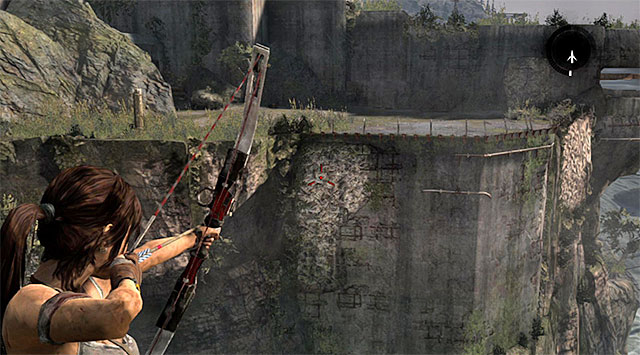 Continue down the narrow corridor until you reach a small hill with the Bunker Vista base camp - Reach the Endurance Wreck (part 2) - 22: Gone Missing - Tomb Raider - Game Guide and Walkthrough