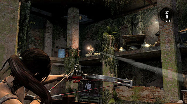 Check out the sideway room for some supplies, then move to the nearby gallery and hide behind the wall - Reach the Endurance Wreck (part 2) - 22: Gone Missing - Tomb Raider - Game Guide and Walkthrough