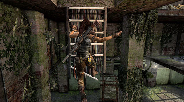 When the battle is won, go left and leap over to the platform where the aforementioned enemy has just been - Reach the Endurance Wreck (part 2) - 22: Gone Missing - Tomb Raider - Game Guide and Walkthrough