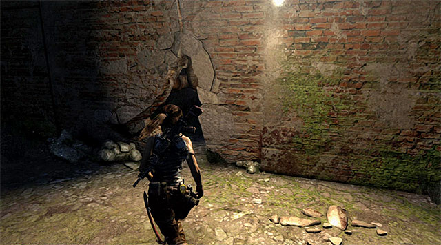Approach the exit door in the room where Lara has found the last Document and use the climbing axe to open the way (rapidly tap the action button) - Return to the Survivor Camp on the Beach | 22: Gone Missing Walkthrough - 22: Gone Missing | Walkthrough - Tomb Raider Game Guide