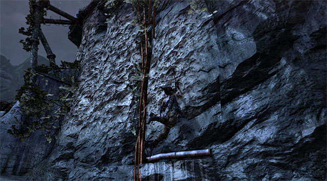 Stay on a small ledge and bounce off the vertical wall so Lara can reach the ledge and then interactive walls shown on the screen - Start the Climb Up to the Research Base | 23: Storm Chaser Walkthrough - 23: Storm Chaser | Walkthrough - Tomb Raider Game Guide