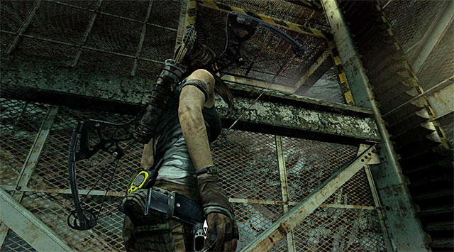 Enter the elevator and locate a hole shown on the screen - jump towards it in order to get to the staircase - Discover the Ancient Tomb - 23: Storm Chaser - Tomb Raider - Game Guide and Walkthrough