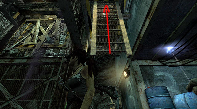 Now go to the top fourth floor (jump at the destroyed fragment of the staircase) and call the elevator - Discover the Ancient Tomb - 23: Storm Chaser - Tomb Raider - Game Guide and Walkthrough