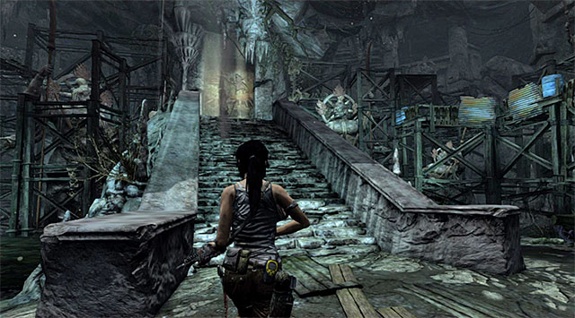 After securing the area, keep moving west, following the very linear path and reaching the tomb after a while - Discover the Ancient Tomb - 23: Storm Chaser - Tomb Raider - Game Guide and Walkthrough