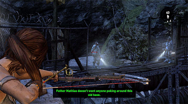 Slide down the line and take cover behind the nearest wall, because two bandits will appear in the distance - Return to the Survivor Camp on the Beach | 23: Storm Chaser Walkthrough - 23: Storm Chaser | Walkthrough - Tomb Raider Game Guide