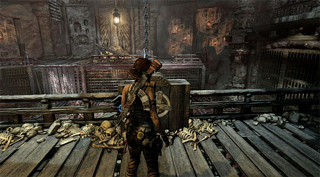 Position yourself at the right mechanism shown on the screen and interact with it, thus making part of the floor to spread out - Rescue Sam from Mathias (part 1) - 24: Going Back In - Tomb Raider - Game Guide and Walkthrough