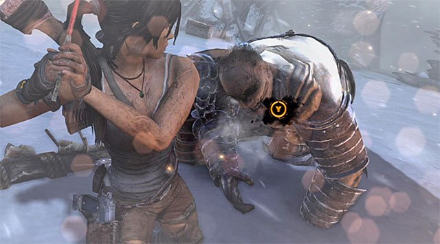 In order to finally eliminate the huge guard, you have to rhythmically press melee fight key/button and then interaction key/button, after appropriate icons appear on the screen (reward: 100 XP) - End the Storms by Stopping the Ascension Ritual | 24: Going Back In Walkthrough - 24: Going Back In | Walkthrough - Tomb Raider Game Guide
