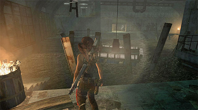 Send another rope arrow towards the high interactive spot to temporarily lift the lamp - The Flooded Vault | Optional Tombs: Shipwreck Beach - Shipwreck Beach | Optional Tombs - Tomb Raider Game Guide