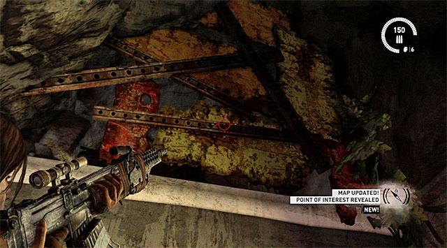 Climb up the new ledge, turn left and again clear your way using the grenade launcher - Relics | Collectibles: Research Base - Collectibles: Research Base - Tomb Raider Game Guide
