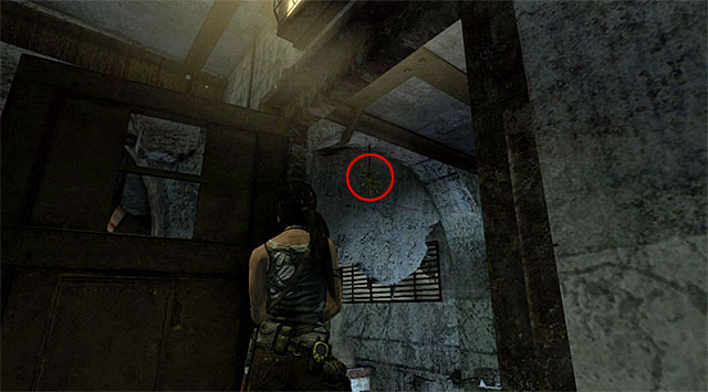 After opening the door go to the edge and turn right and then aim at the totem hanging from the ceiling (reward: 10 XP) - Sun Killer | Collectibles: Research Base - Collectibles: Research Base - Tomb Raider Game Guide