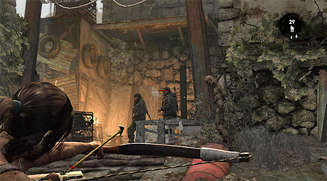 Move a little to the left and attack the remaining two, preferably by an ambush - Search the Rescue Helicopter for Medical Supplies | 13: Open Wounds Walkthrough - 13: Open Wounds | Walkthrough - Tomb Raider Game Guide