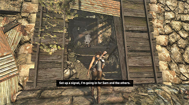 Start by leaping over to the ledge in front - Find a Way into the Solarii Stronghold | 16: No One Left Behind Walkthrough - 16: No One Left Behind | Walkthrough - Tomb Raider Game Guide