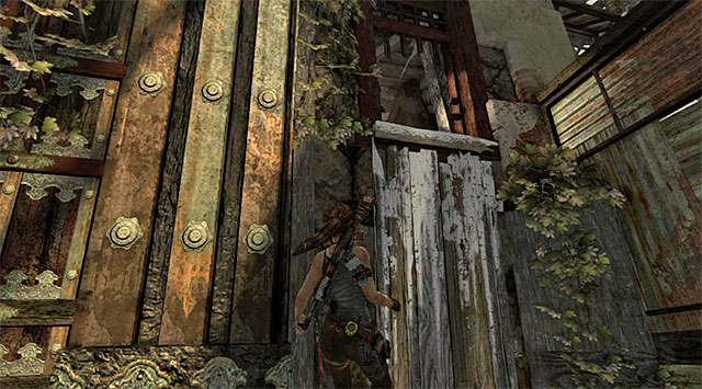 Turn north now, over the damaged wall, leaping when needed - Find a Way into the Solarii Stronghold | 16: No One Left Behind Walkthrough - 16: No One Left Behind | Walkthrough - Tomb Raider Game Guide