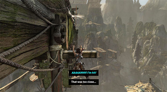 Move as far to the right as possible and only then climb the beam - Find a Way into the Solarii Stronghold | 16: No One Left Behind Walkthrough - 16: No One Left Behind | Walkthrough - Tomb Raider Game Guide