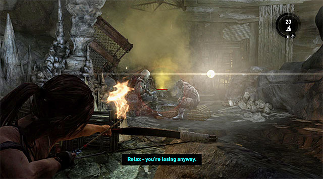 Pick up some arrows and carefully approach another group, naturally from behind a cover - Rescue the Captured Endurance Crew | 16: No One Left Behind Walkthrough - 16: No One Left Behind | Walkthrough - Tomb Raider Game Guide