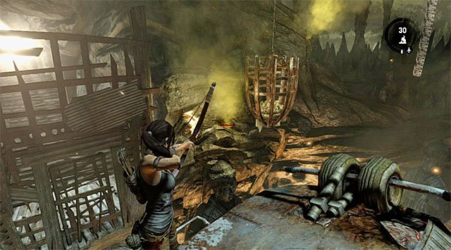 Get to the other side of the cage and shoot at the gas below, as pictured above - Rescue the Captured Endurance Crew | 16: No One Left Behind Walkthrough - 16: No One Left Behind | Walkthrough - Tomb Raider Game Guide