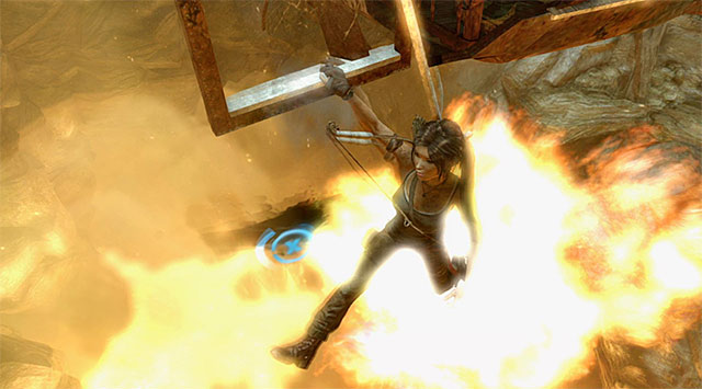 The next step is luckily less demanding, just go back on top of the cage - Rescue the Captured Endurance Crew | 16: No One Left Behind Walkthrough - 16: No One Left Behind | Walkthrough - Tomb Raider Game Guide