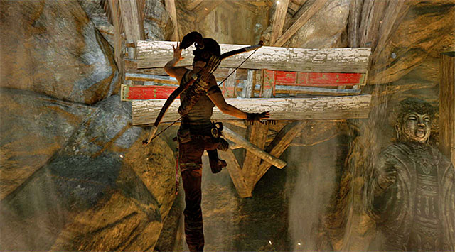 There are to more leaps to perform - the first with the intention of grabbing onto the hanging platform, the second to reach the safe ledge outlined in the distance - Escape the Cavern | 16: No One Left Behind Walkthrough - 16: No One Left Behind | Walkthrough - Tomb Raider Game Guide