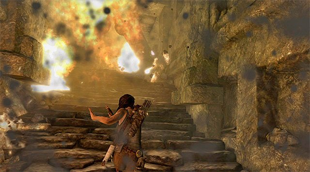 Make your way north-east along a very linear path; it will take you to a burning flight of stairs - Find a Way into the Palace | 17: Into the Fire Walkthrough - 17: Into the Fire | Walkthrough - Tomb Raider Game Guide