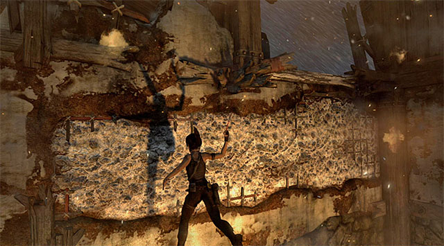 Move far to the right and leap over to an interactive wall, once again pressing the action button - Escape the Solarii Compound | 17: Into the Fire Walkthrough - 17: Into the Fire | Walkthrough - Tomb Raider Game Guide