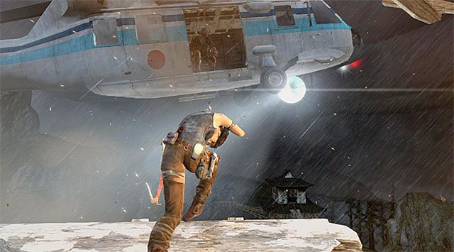 Start running for the chopper, bouncing off the edge at the last moment - Jump to the Chopper | 18: Get to the Chopper Walkthrough - 18: Get to the Chopper | Walkthrough - Tomb Raider Game Guide