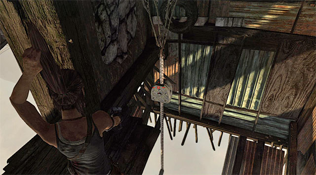 Depending on preferences, you can spend the whole shootout hanging head down, or try and set yourself free as soon as possible - Well of Tears | Optional Tombs: Shantytown - Shantytown | Optional Tombs - Tomb Raider Game Guide