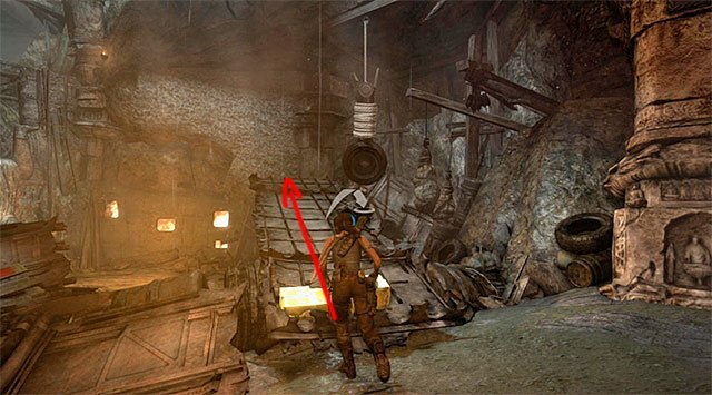 Without stopping, move over the ramp towards the previously mentioned interactive wall - Chamber of Judgment | Optional Tombs: Shantytown - Shantytown | Optional Tombs - Tomb Raider Game Guide