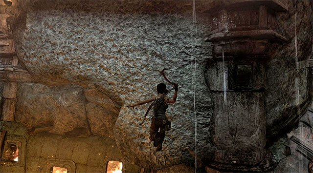 When you reach the edge, jump and use the climbing axe by pressing the action button in flight - Chamber of Judgment | Optional Tombs: Shantytown - Shantytown | Optional Tombs - Tomb Raider Game Guide