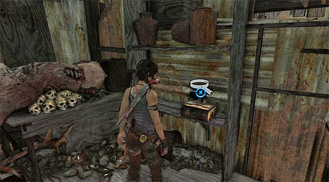 The box with the statuery is lying on the shelf (reward: 25 XP) - Relics | Collectibles: Shantytown - Collectibles: Shantytown - Tomb Raider Game Guide