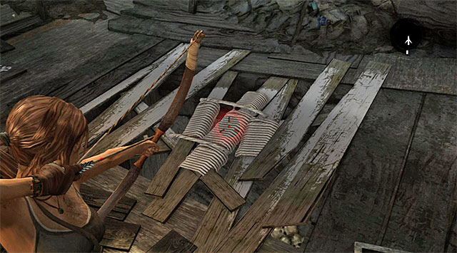 Approach the altar and shoot a rope arrow to pull out the planks in the floor - GPS Caches (01-07) | Collectibles: Shantytown - Collectibles: Shantytown - Tomb Raider Game Guide
