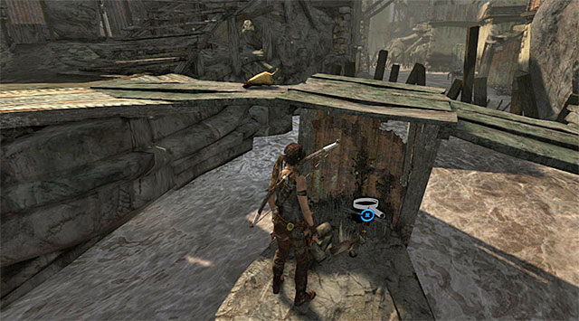 Stand by the bridge and drop down on the shelf below - GPS Caches (01-07) | Collectibles: Shantytown - Collectibles: Shantytown - Tomb Raider Game Guide