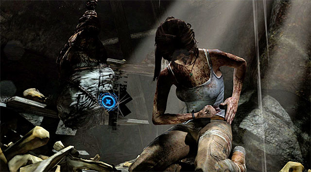 As soon as she hits the ground, be ready to rapidly tap the action button - Keep Moving Forward to Survive | 1: Survive Walkthrough - 1: Survive | Walkthrough - Tomb Raider Game Guide