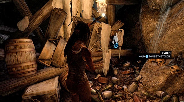 You can use the newly acquired torch to ignite some cocoons, but it wont get you anything - Keep Moving Forward to Survive | 1: Survive Walkthrough - 1: Survive | Walkthrough - Tomb Raider Game Guide