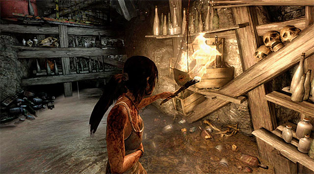 Move forward and youll get to a narrow passageway through which Lara will automatically squeeze - Keep Moving Forward to Survive | 1: Survive Walkthrough - 1: Survive | Walkthrough - Tomb Raider Game Guide