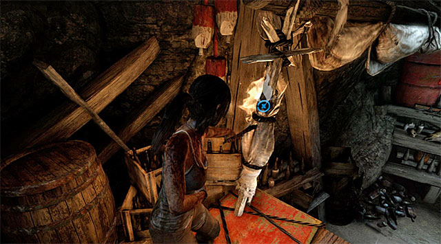 Afterwards, turn left, approach the shelf and push the action button to climb onto it, then turn right and use the torch to ignite some more debris - Keep Moving Forward to Survive | 1: Survive Walkthrough - 1: Survive | Walkthrough - Tomb Raider Game Guide