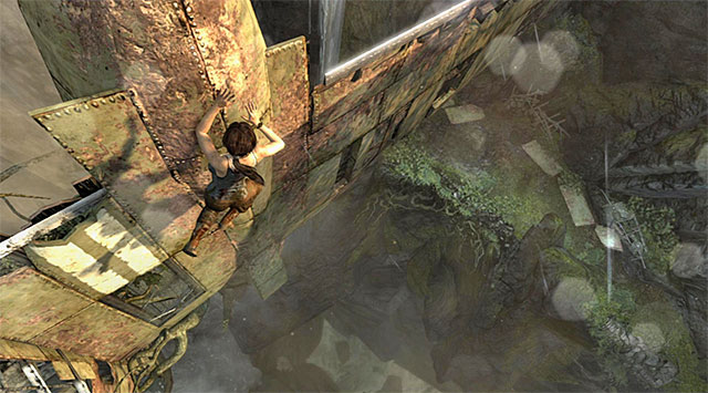 Get a grip on the top edge and move right - Search for Traces of Other Survivors | 3: Signs of Life Walkthrough - 3: Signs of Life | Walkthrough - Tomb Raider Game Guide