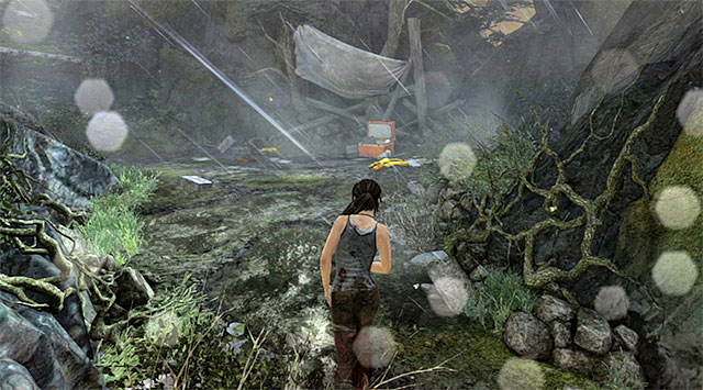 Move ahead and jump down; youll reach a deserted camp - Search for Traces of Other Survivors | 3: Signs of Life Walkthrough - 3: Signs of Life | Walkthrough - Tomb Raider Game Guide