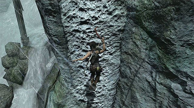 Make another leap using the action button to select the climbing axe - Reach the Top of the Falls - 8: Cry for Help - Tomb Raider - Game Guide and Walkthrough