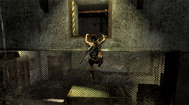 Go down the same hole the guard came out of in order to reach a larger room - Find the Communication Console - 8: Cry for Help - Tomb Raider - Game Guide and Walkthrough