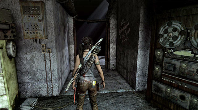 Enter the next room, take what you find and go left, down the corridor leading to the unlit area - Find the Communication Console - 8: Cry for Help - Tomb Raider - Game Guide and Walkthrough