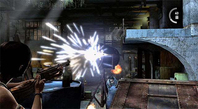 Once they're down, take cover and try to shoot the searchlights as soon as possible - Find the Communication Console - 8: Cry for Help - Tomb Raider - Game Guide and Walkthrough