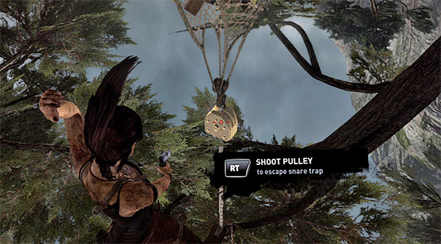 When all of them are down, shoot the pulley to set Lara free - Regroup with Roth | 9: A Road Less Traveled Walkthrough - 9: A Road Less Traveled | Walkthrough - Tomb Raider Game Guide
