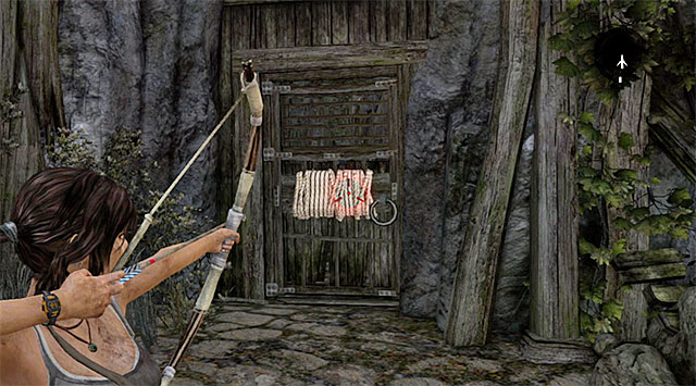 Head east, using a rope arrow to pull out the door - Regroup with Roth | 9: A Road Less Traveled Walkthrough - 9: A Road Less Traveled | Walkthrough - Tomb Raider Game Guide
