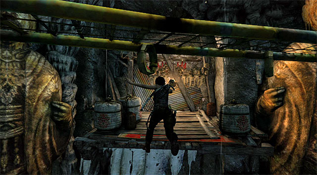 Jump over to it and immediately jump again, this time to land on the shelf with a lamp - Tomb of the Unworthy | Optional Tombs: Mountain Village - Mountain Village | Optional Tombs - Tomb Raider Game Guide