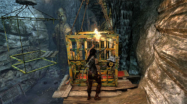 Backtrack to the starting point and push the cage on the right - Tomb of the Unworthy | Optional Tombs: Mountain Village - Mountain Village | Optional Tombs - Tomb Raider Game Guide