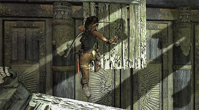 Wait for the two remaining shutters to open; when that happens, a gust of wind should move you, together with the platform, to the wall on the right to the entrance - Hall of Ascension | Optional Tombs: Mountain Village - Mountain Village | Optional Tombs - Tomb Raider Game Guide